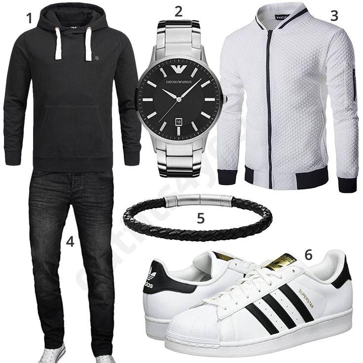 Schwarz-Weißer Herrenstyle mit Hoodie und Sneakern (m0928) #hoodie #watch #sneaker #adidas #outfit #style #herrenmode #männermode #fashion #menswear #herren #männer #mode #menstyle #mensfashion #menswear #inspiration #cloth #ootd #herrenoutfit #männeroutfit
