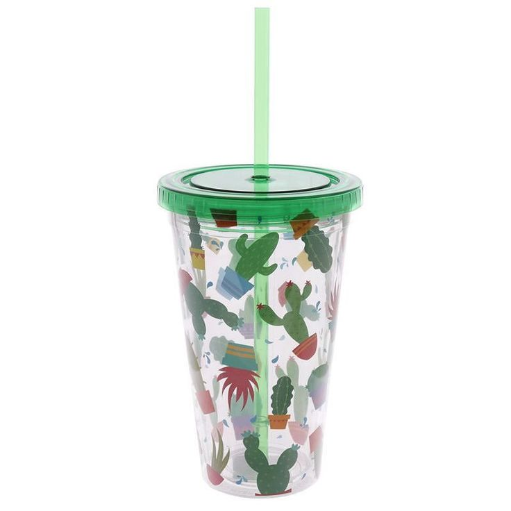 Cactus Double Walled Cup with Lid and Straw http://ift.tt/2kGoRIR