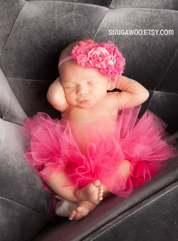 Azlyn Collection- Hot pink Newborn tutu, Infant Baby Girl Tutu WITH a matching & headband bow, newborn photo prop, baby girl gift, newborn