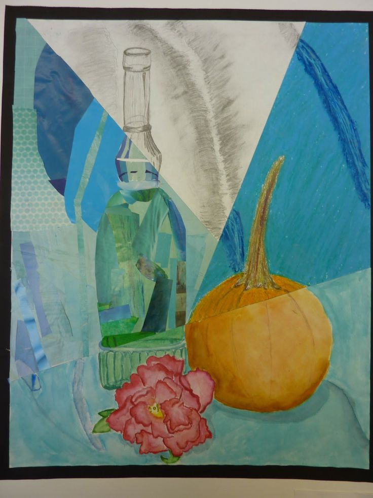 Multimedia Still Life - graphite/pastel/collage/watercolor