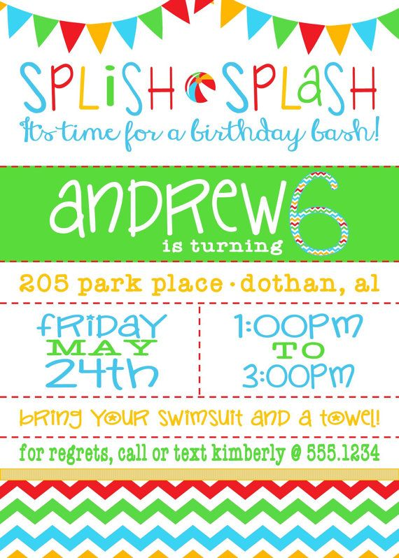 11 best images about Allyseu0027s 7th Birthday Party on Pinterest - pool party invitation