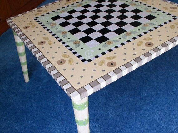 Hand Painted Game or Coffee Table Checkers by sharonmooradian, $260.00