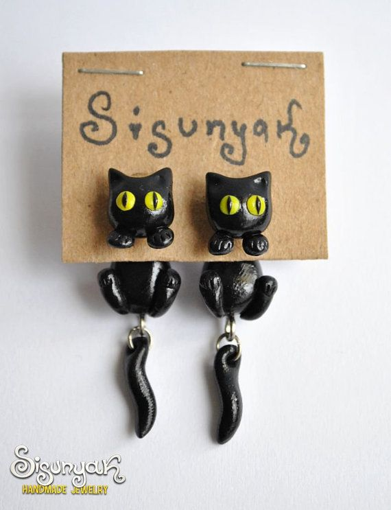 Black Cat Earrings with surgical steel posts by Sisunyak on Etsy, $13.50
