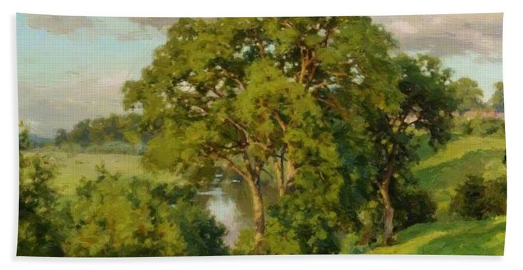Ash Beach Towel featuring the painting Ash Trees At Cropthorne Worcestershire by Parsons Alfred