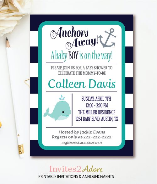 Nautical Whale and Anchor Baby Shower Invitation in navy and teal. This boy baby shower invitation is also available in colors green, orange, and red.