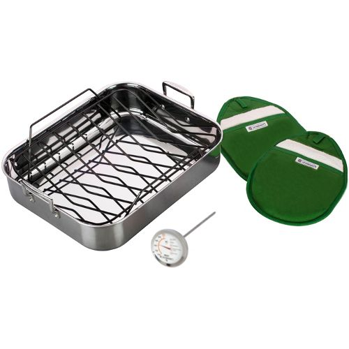 Cook up secret family recipes for generations to come with this long lasting five piece roasting set from Le Creuset. This set includes a roasting pan with rack, two potholders, and one meat thermometer. Constructed from a tri-ply stainless steel, the roasting pan and rack feature an aluminum core that allows for optimum heating.