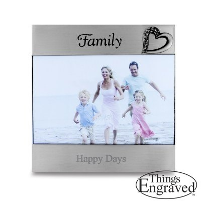 """Brushed Silver """"Family"""" Frame   http://www.thingsengraved.ca/oneproduct.php?p=5000_020545  #thingsengraved #thingsengravedgifts"""