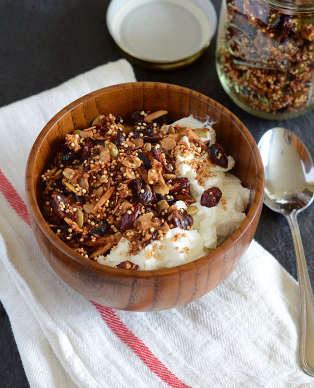Coconut Quinoa Granola •1 cup quinoa •1 cup old-fashioned rolled oats •1 cup dried cranberries •1/2 cup slivered or chopped almonds •1/4 cup raw pumpkin seeds (pepitas) •1/2 cup unsweetened coconut flakes •1/4 cup coconut oil, melted •3 tablespoons agave nectar or honey
