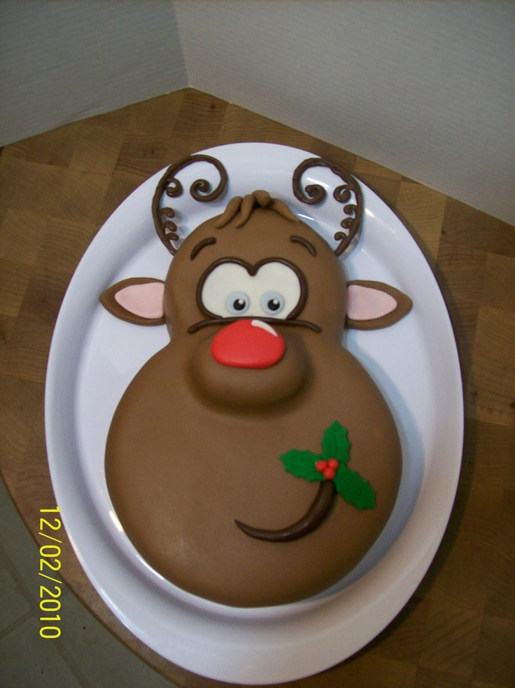 Cakes By Chris: Rudolph the Rednosed Reindeer...ANOTHER Tooo Cute cake...THIS one I might try...small and large round pans, plus cupcake nose...RIGHT?