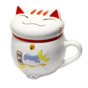 High Quality Japanese Lucky Cat Ceramic Teacup Mug Glass – comes with Lid