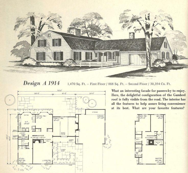 Vintage House Plans Gambrel Roof 1970s Vintage House Plans 1970s Pinterest Gambrel Roof