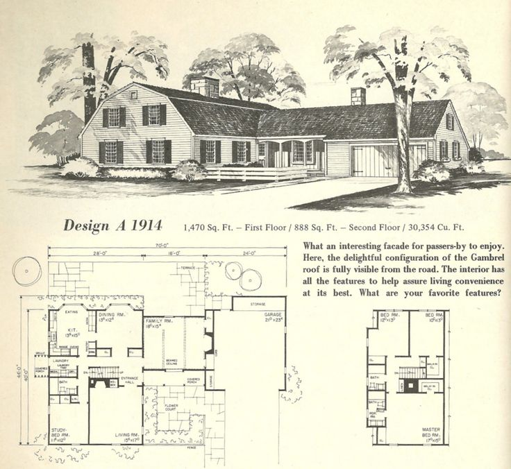 Vintage House Plans Gambrel Roof 1970s Vintage House