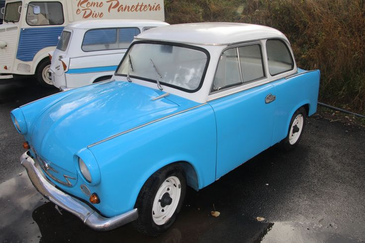 Our movie star #Trabant P600. A rare restored 1960 East German car. See our #Trabant P600 #Kombi in the background.