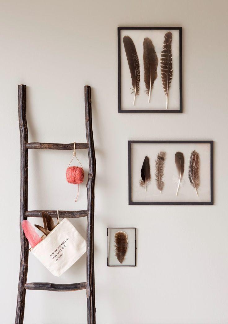 Ook deze winter weer veren inlijsten! Leuk naast deze ladder