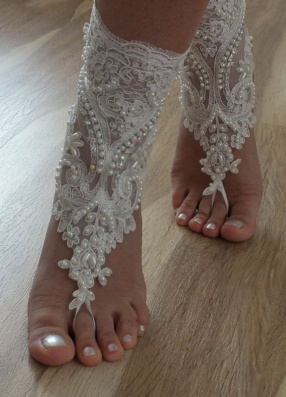 Beach shoes - Unique design bridal sandals lariat by Theworldofbrides