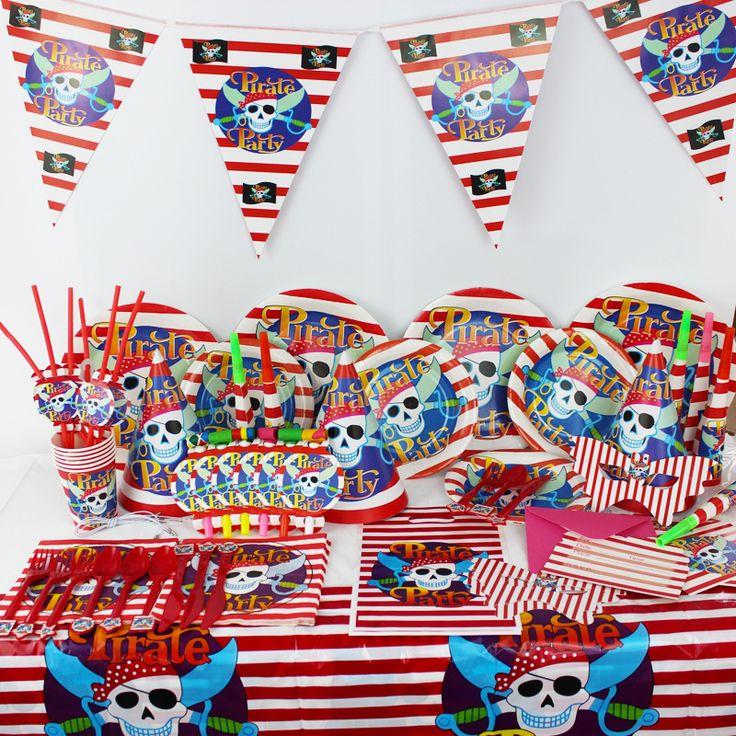 78 шт. / роскошь дети день рождения украшение комплект пират тема принадлежности для вечеринки младенцы день рождения пакет CK 021 купить на AliExpress