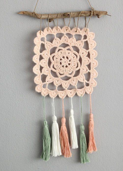 Cafenohut: Püsküllü Duvar Süsü - #Crochet Wall Decoration