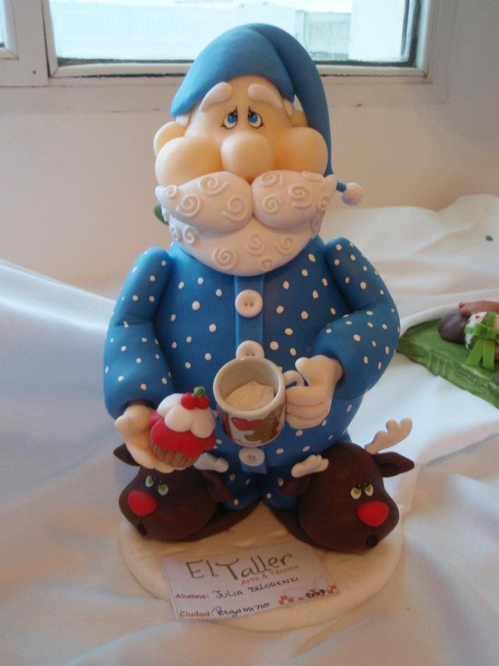 Santa in pyjamas cake - great for a just-after-Christmas party as I always figure he needs lots of sleep after Christmas!