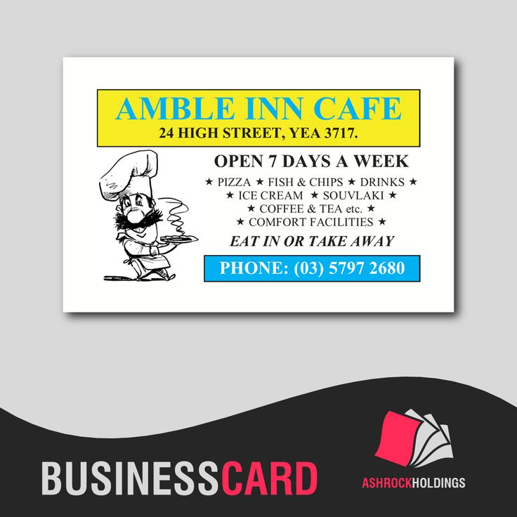 Amble Inn Cafe Business Cards | #businesscard #printer #printing #cmyk #card #business #cafe #takeaway #yea #fastfood #hamburgers #fishnchips #pizza #burgers #food