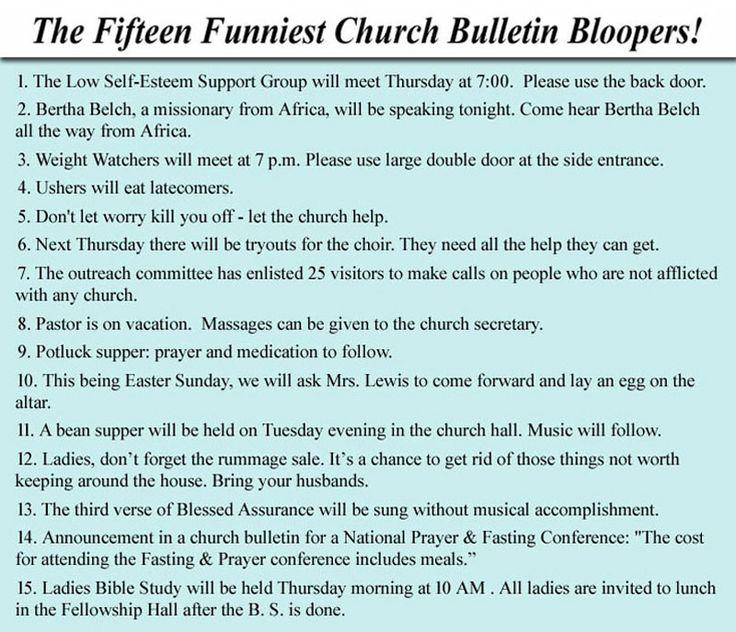 258 best church bulletin funnies images on Pinterest in ... |Clean Jokes For Church Bulletins