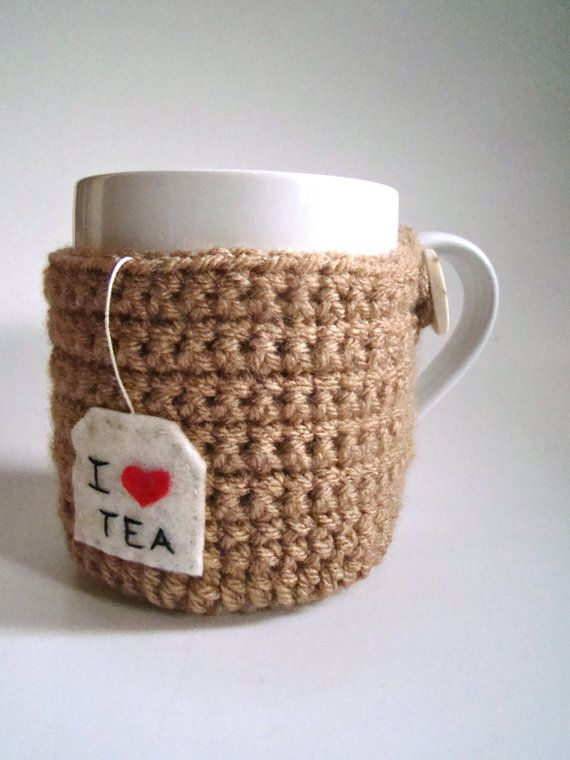 Tea Bag Cup Cozy And Coasters Mug Sweater Mug Cozy By HookMadness, $14.00