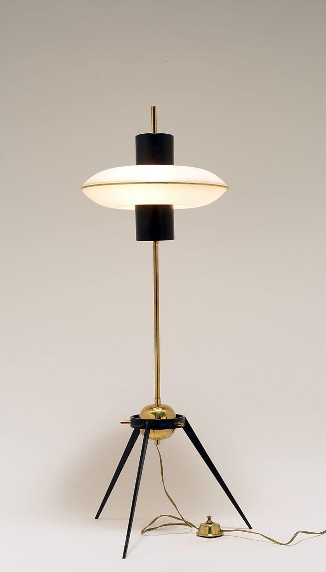 Brass and Enameled Metal Floor Lamp | 1950s: