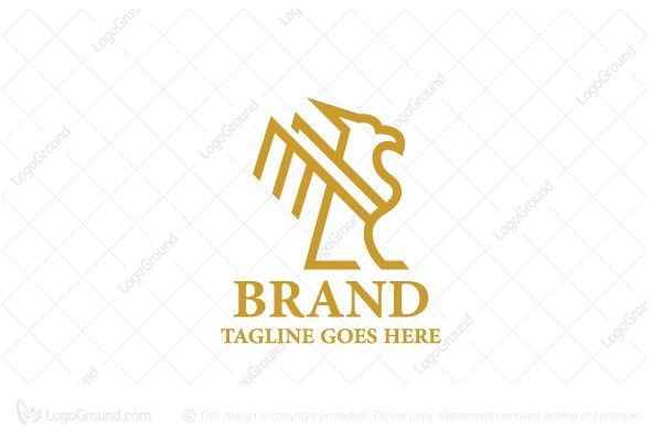 Exclusive Logo 65536 Golden Linear Griffin Logo Logos For Sale