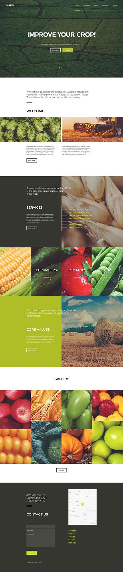 Modern clean website design layout about crop optimizing with beautiful photography