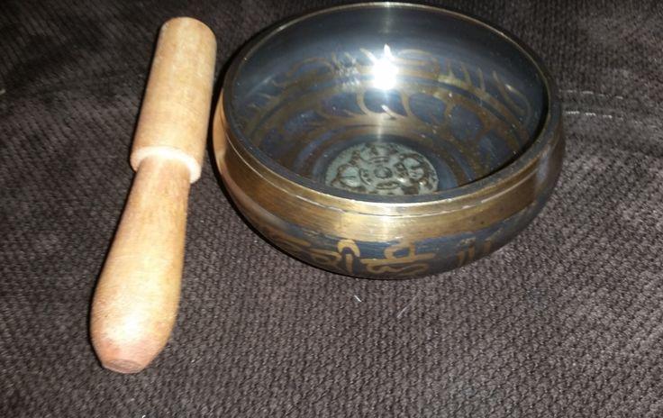 Vintage Tibetan Singing Bowl with Mandrel, Great for Meditation, Made in Nepal by ZephyrGemsandEtc on Etsy