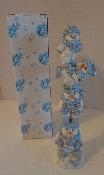 "Snow Buddies Snowman Figurine Snowman Tower Ceramic 9.5"""
