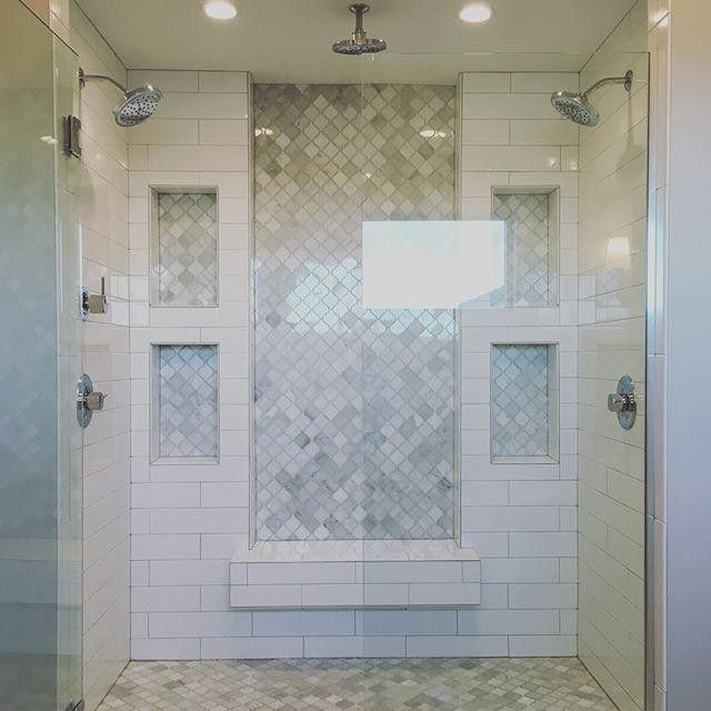 love! inset marble subway tile and white subway tile, double shower, marble tile floor