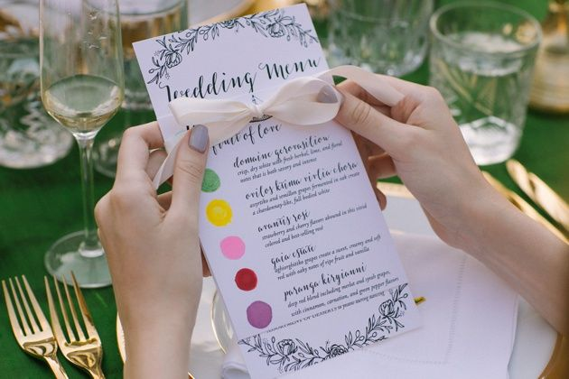 Wedding reception menu idea with vibrant colours. Garden themed wedding in Kefalonia, Greece designed by Stella and Moscha Weddings. Photo by Adrian Wood