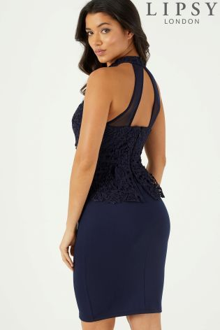 486b33f4444 Buy Lipsy Halter Neck Lace Peplum Bodycon Dress from the Next UK online shop