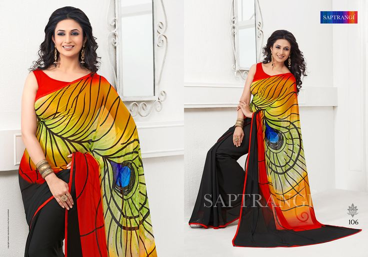 www.saptrangi.com Info@saptrangi.com Designer Peacock feather digital print saree