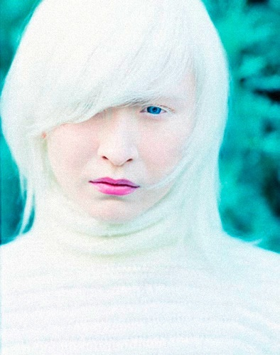 Albino model Connie Chiu.