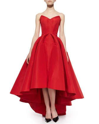 Strapless Cat-Ear-Bodice High-Low Gown, Grenadine by Zac Posen at Neiman Marcus.