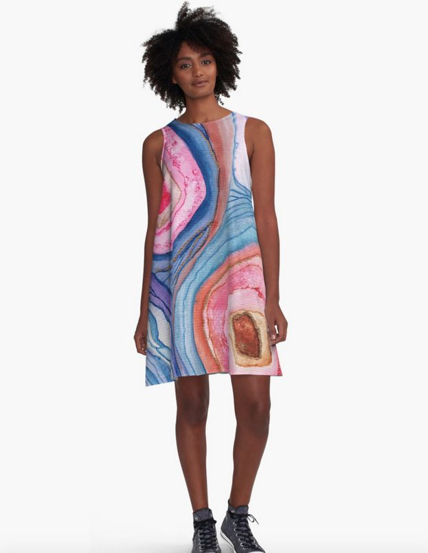 AGATE Inspired Watercolor Abstract 04, dress by Vivigonzalezart