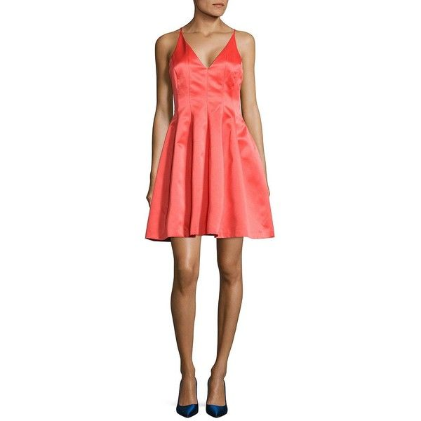 Belle By Badgley Mischka Nikki Plunging V-Neck Dress ($132) ❤ liked on Polyvore featuring dresses, coral, pleated dress, plunging v neck dress, v neck cocktail dress, red a line dress and a line cocktail dress