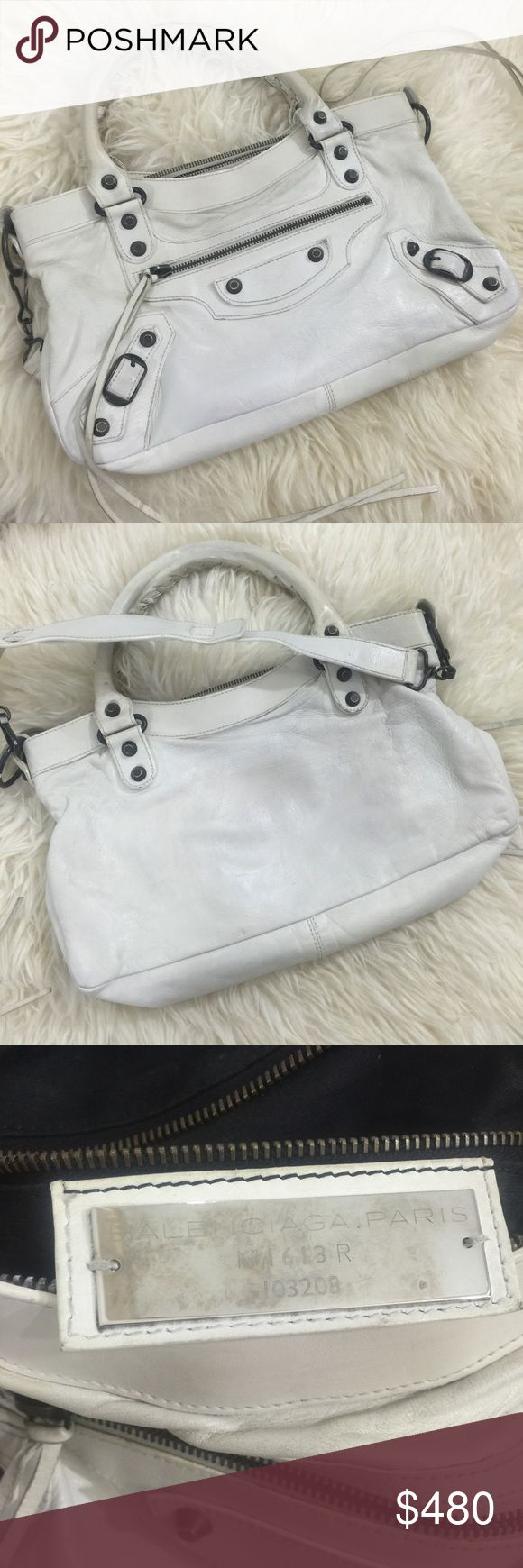 💎 Authentic Balenciaga First Classic Satchel 💎 Authentic guaranteed, by myself and Posh Concierge. Will include Authenticate First certificate for additional $10 (their fee not mine). This bag was professionally retouched and cleaned. The handles have been gently repainted, as leather naturally darkens over time. Gorgeous iconic ultra chic bag in crisp white. Mirror not included, shoulder strap included. Balenciaga Bags Satchels