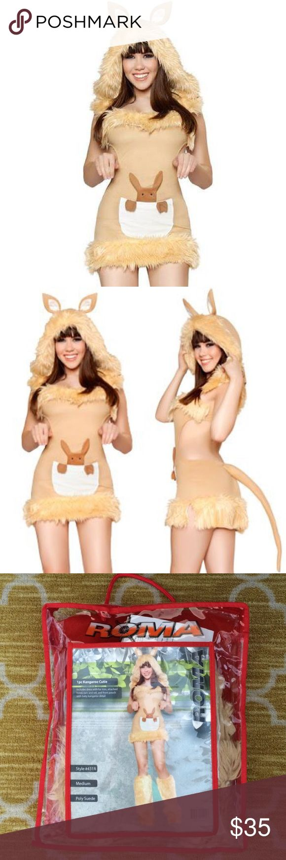 Sexy Kangaroo Cutie Halloween Costume New! In original packaging. Adult female kangaroo costume. Soft suede. Hood with ears, front pocket, fur trim. The back is cut out and open. Purchased for a themed party and didn't end up wearing it. *boots were not included in the package-you had to buy them separate and I chose not to* Other