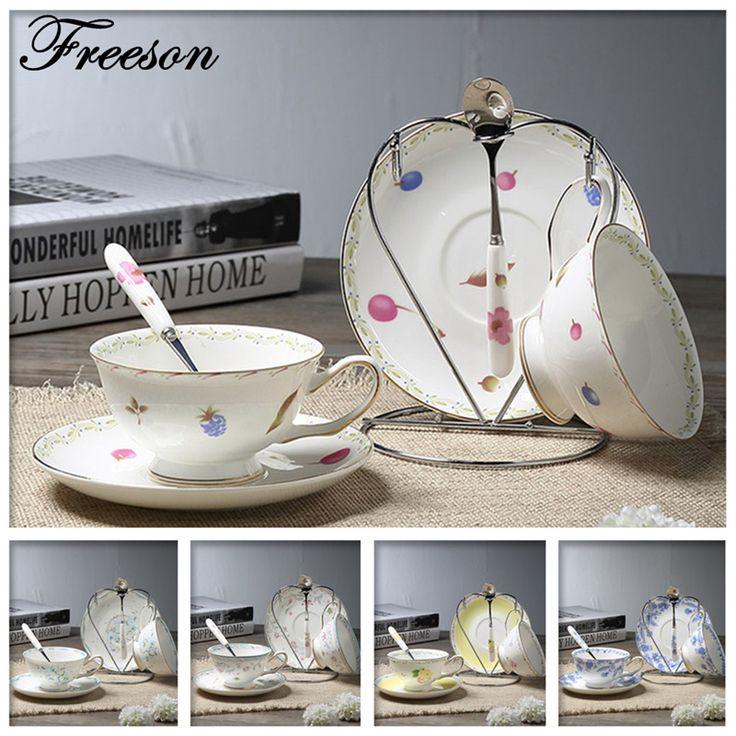 Elegant Brief Bone China Coffee Cups Lover Ceramic Tea Cup Saucer Set Advanced Porcelain Couple Mug Cafe Drinkware Gift #Affiliate