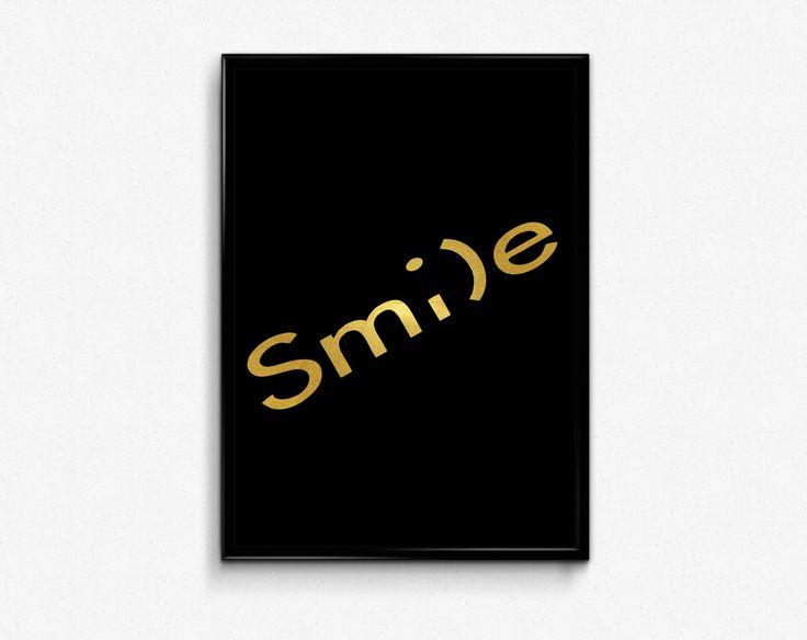 Smile Printable Poster Word Art Inspirational Print Minimalist Gold Foil Decor by HamptyDamptyArt on Etsy