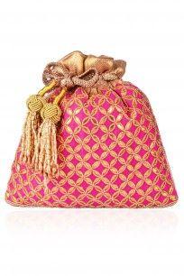 Pink Gota Patti and Beads Potli Bag #pink #potli #bag #embroidered #brocade…