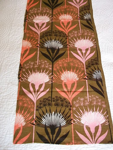 vintage 1950s barkcloth curtain fabric