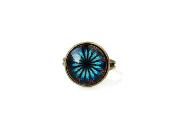 Star flowers small adjustable ring, 12mm glass dome photo cabochon, bezel ring, statement ring, japanese style ring, black blue red