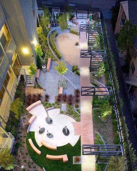 Havenhurst Pocket Park in West Hollywood CA by KSA... Not that pretty but gives an ideas of how to zone a small space. . . . #architecture #architect #archery #archlove #landspace #landscaper  #landmark