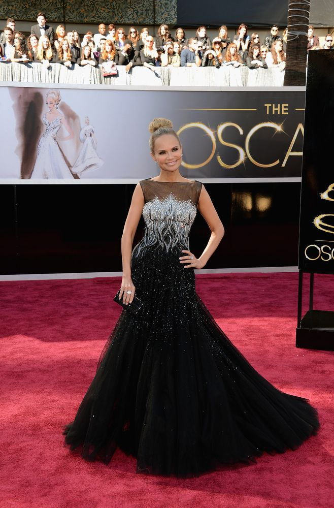 Kristin Chenoweth in a Tony Ward dress and Simon G jewelry.  Oscars 2013 Red Carpet Photos: See All The Dresses From The Academy Awards (PHOTOS)