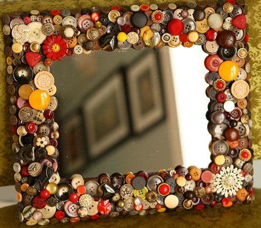 Button Mirror 11x14 by allbuttonedupbytina on Etsy, $99.00 . . . what a talented artist!