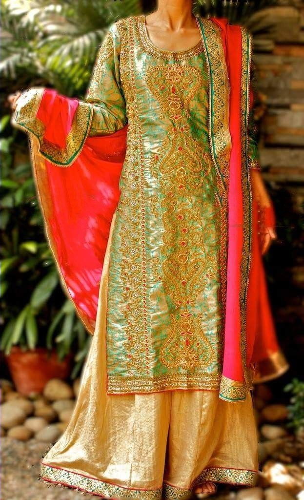 Gorgeous designer Sharara suit in green color with dabka and tilla handwork. Crafted on brocade fabric, It is available with contrast dupatta and golden bottom.