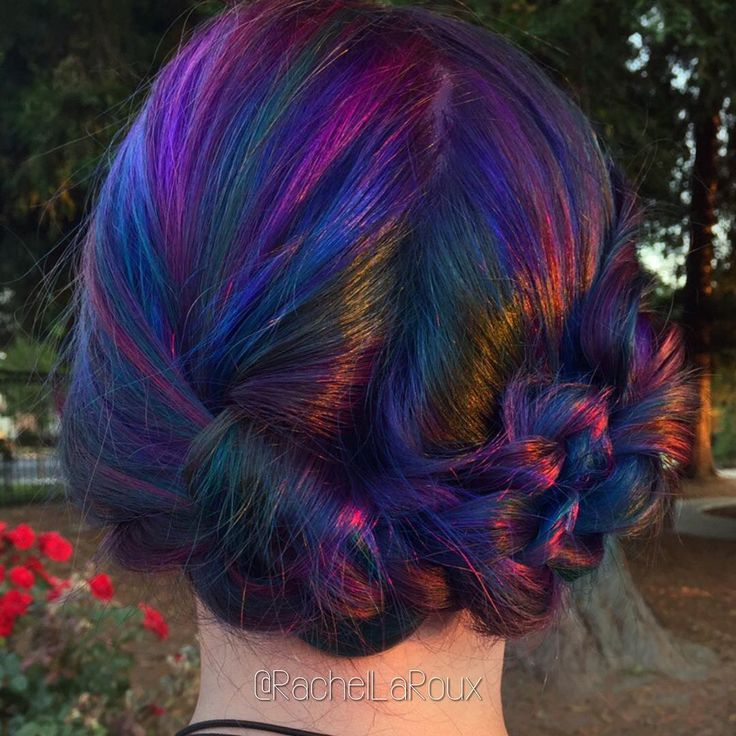 """""Oil slick at sunset"" interpretive art in color by @rachellaroux #behindthechair #vibrantcolor"""
